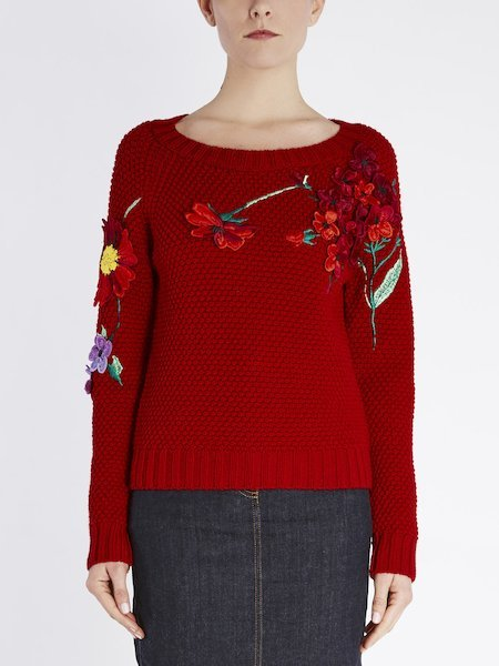 Sweater in wool featuring floral embroidery - red