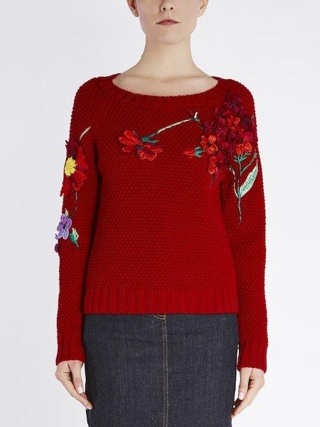 Pull en laine avec broderie de fleurs - rouge