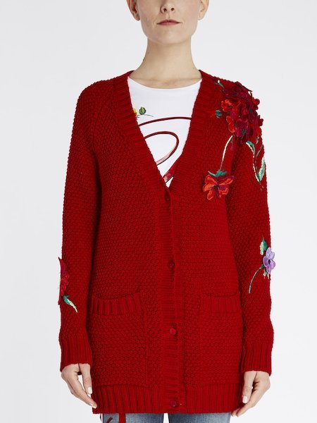 Oversize cardigan in wool with floral embroidery - red