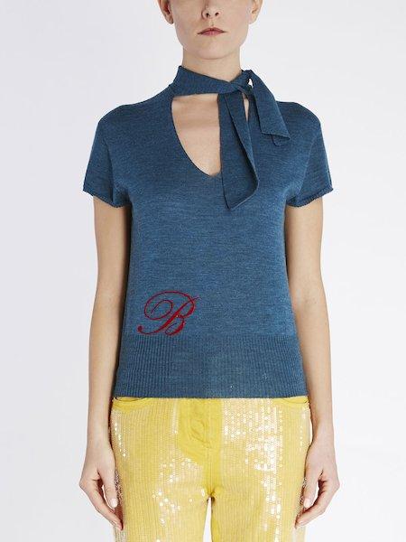 Pullover mit kurzen Ärmeln und Schal
