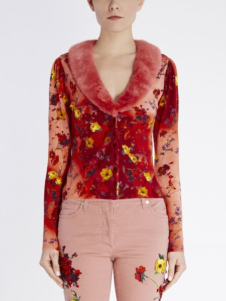 Floral-print BluVi cardigan with hallmark fur collar - red