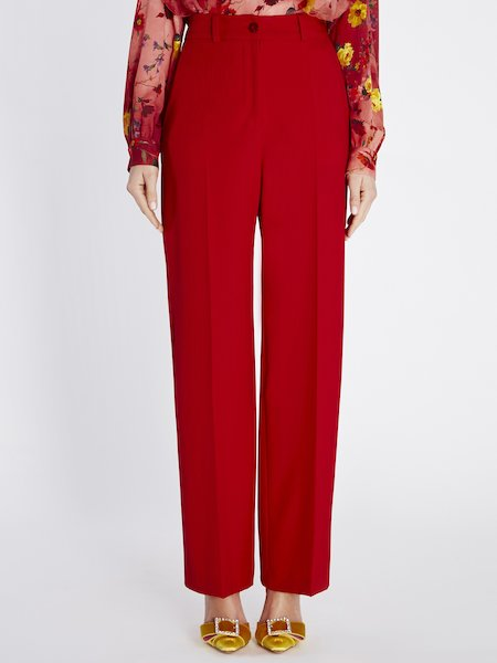 Straight trousers with crease - red