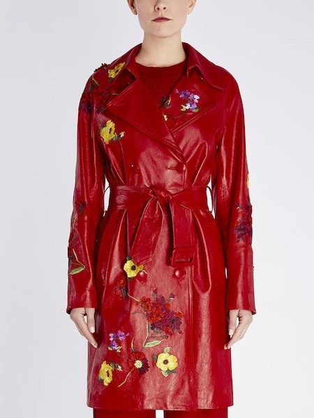 Leather trench coat with floral embroidery - red