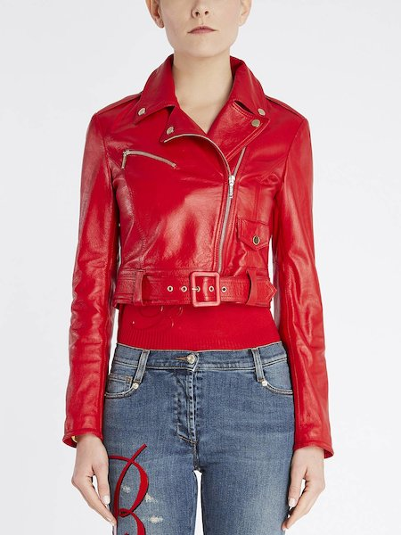Biker jacket in leather with belt and zipper - red