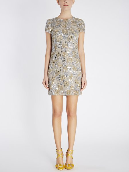 Silk dress with embroidery - Grey