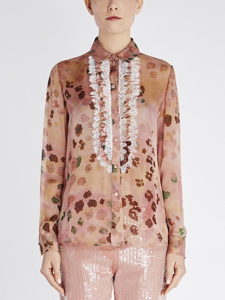 Shirt in animalier-print silk with lace - pink