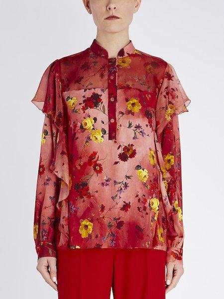 Blusa con estampado de flores con volantes