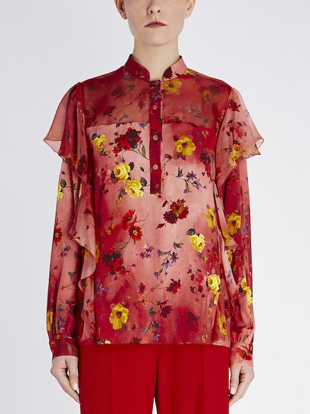 Floral-print blouse with ruffle - red