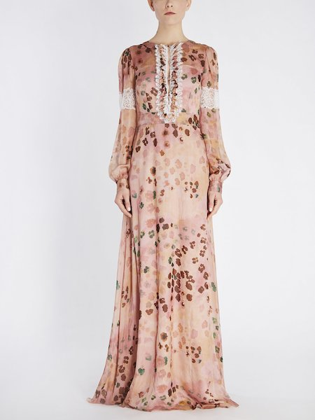 Long animalier-print dress with lace - pink