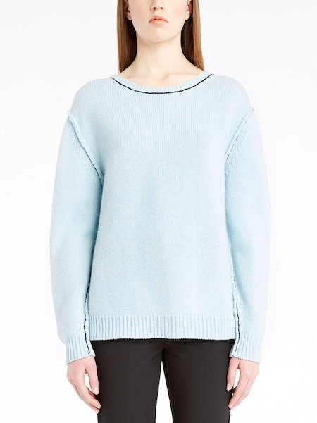 Long-sleeved sweater in cashmere - Light Blue