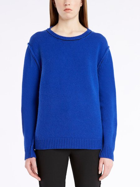 Long-sleeved sweater in cashmere - bleu
