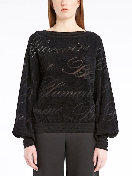 Long-sleeved sweater with logo and rhinestones - черный