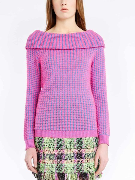 Sweater with long sleeves featuring a bouclé effect - Rosa