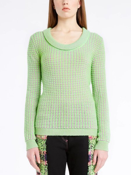 Long-sleeved sweater with round neckline - Green
