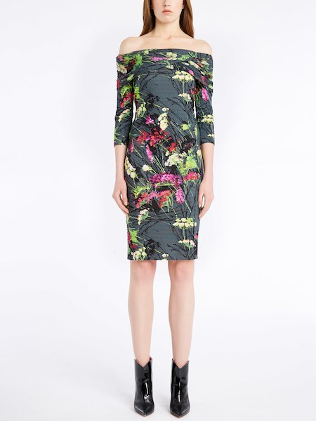 Bare-shouldered floral-print knit dress - Multicolor
