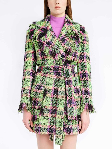 Multicolour bouclé car coat with belt