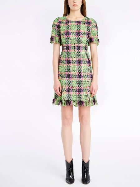 Multicolour bouclé dress with fringe