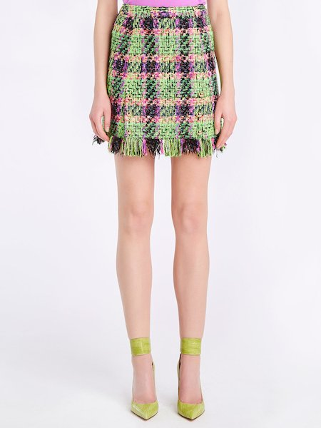 Multicolour bouclé miniskirt with fringe