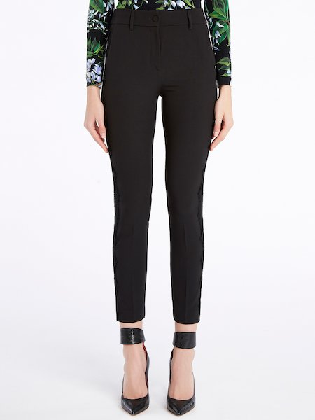 Skinny trousers with bands in lace - черный