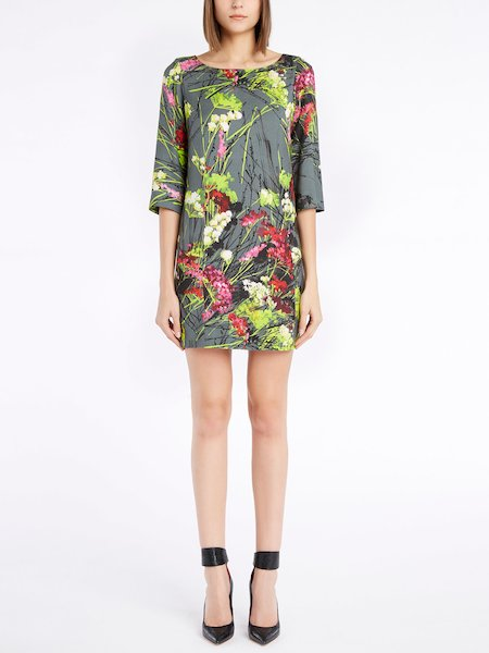 Dress with three-quarter length sleeves and floral print - Multicolored