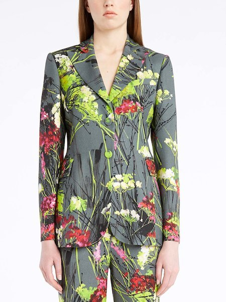 Single-breasted blazer with floral print - многоцветный