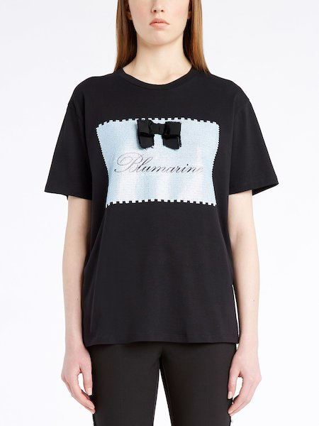 T-shirt with embroidered label and logo - Negro
