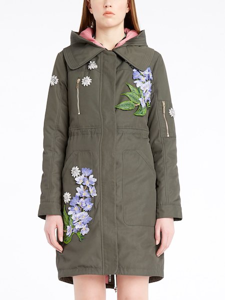 Parka with 3D floral embroidery, stones and rhinestones