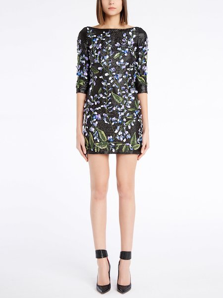 Short dress with sequins and 3D floral embroidery - Negro