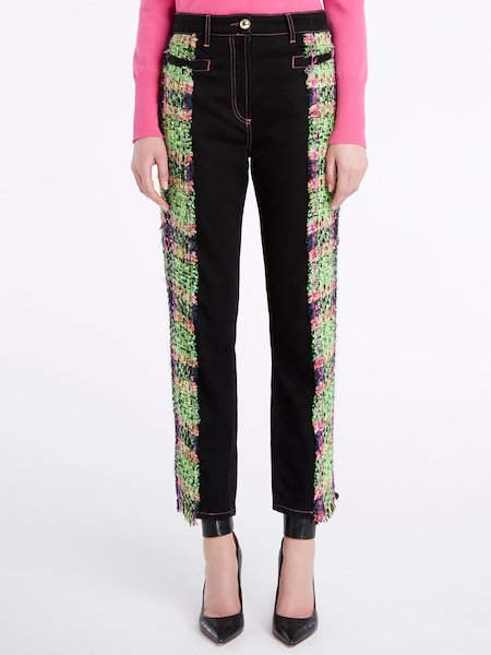 Jeans with multicolour bouclé bands and fringe