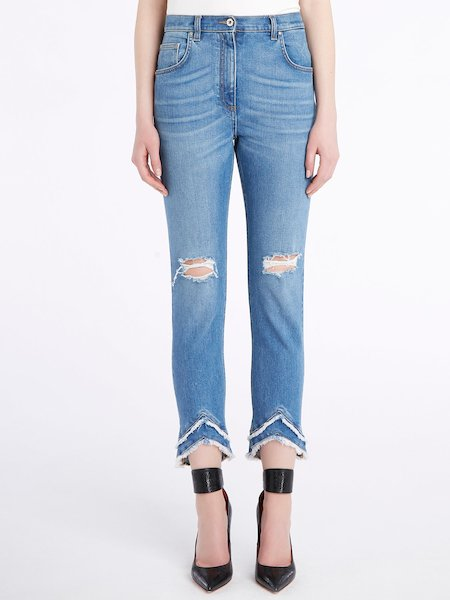 Destroyed jeans with asymmetrical hem - голубой