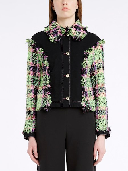 Jacket in denim with insets in multicolour bouclé and fringe