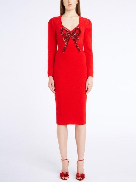Трикотажное платье с бантом из пайеток