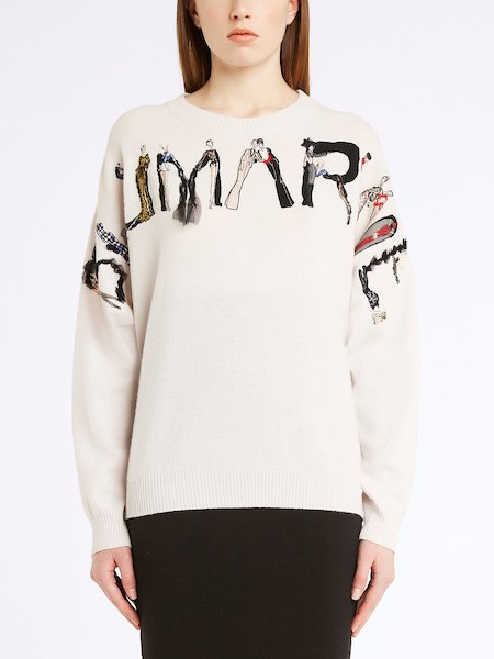 Round-neck sweater with logo motif