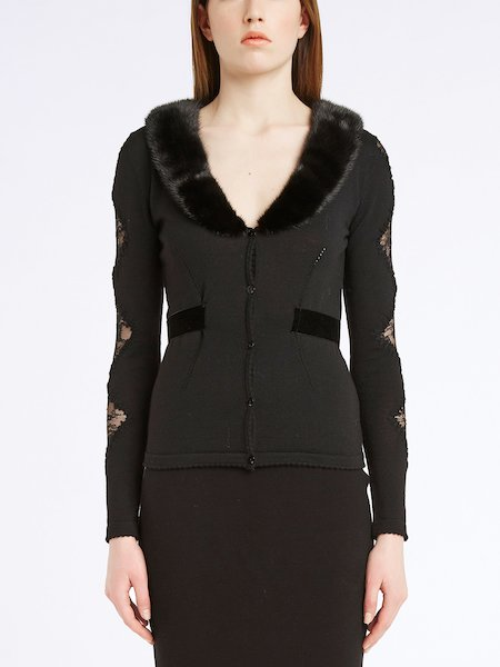 Cardigan with lace and mink collar - Black