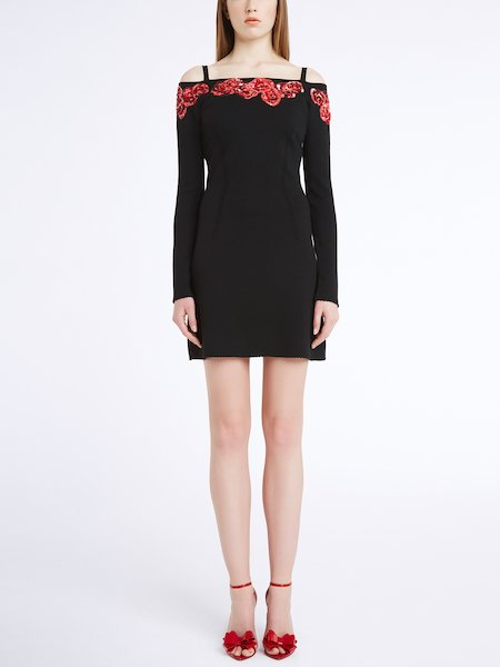 Knit dress with sequin-embroidered roses - Black
