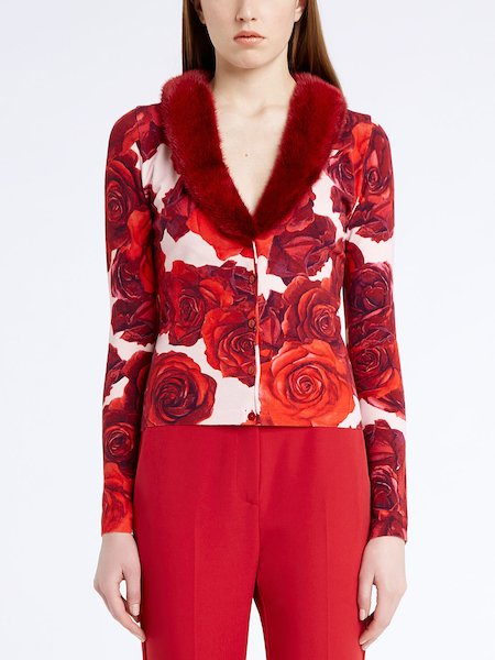 Rose-print cardigan with mink collar