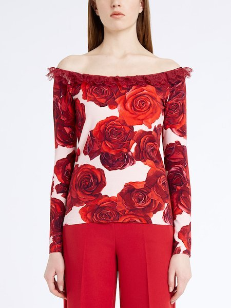 Rose-print sweater with lace - pink