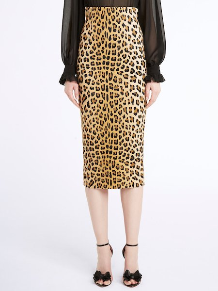 Knit midi-skirt with animalier print