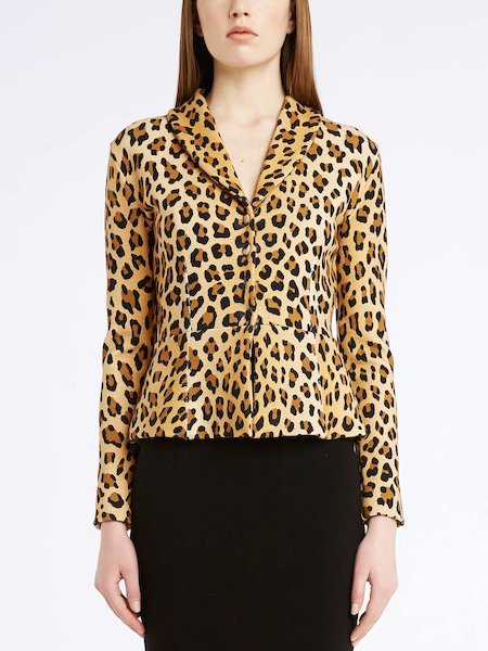 Strickblazer im Animal-Print