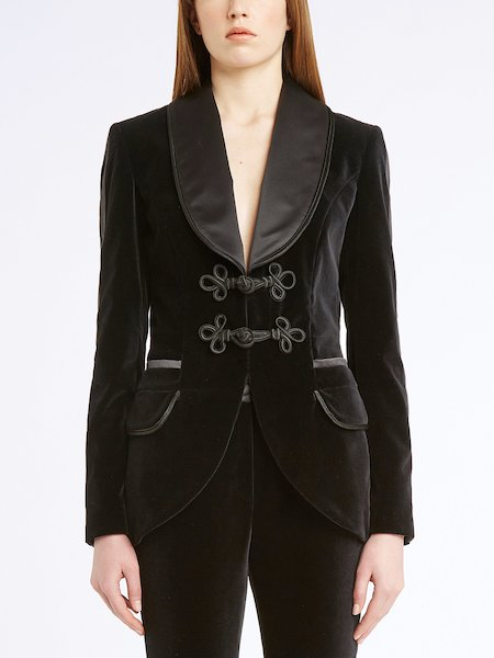 Velvet jacket with frogs - Black
