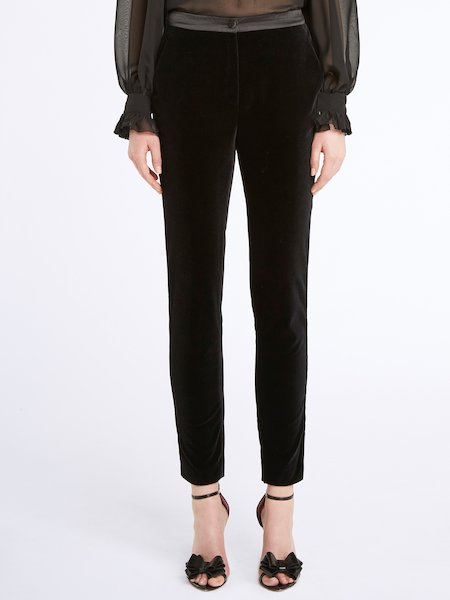 Velvet trousers with satin bands - Black
