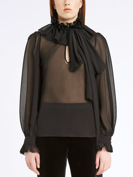 Silk blouse with ruffle and bow