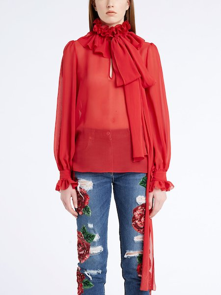 Silk blouse with ruffle and bow - red