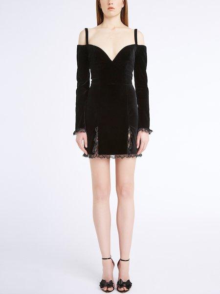 Off-the-shoulder velvet dress - Black