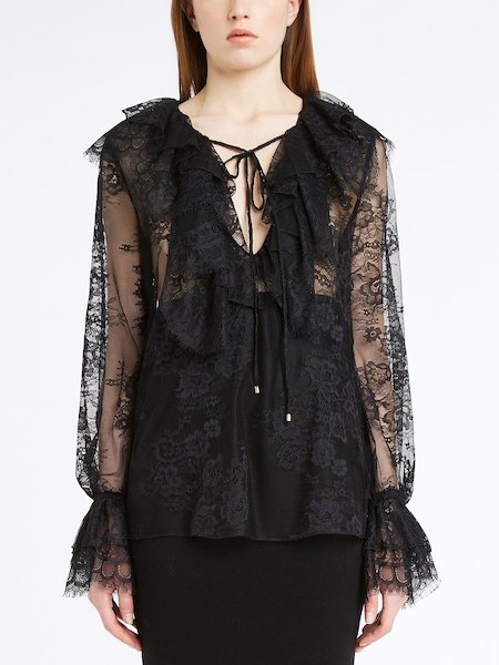 Lace blouse with ruffle - Black