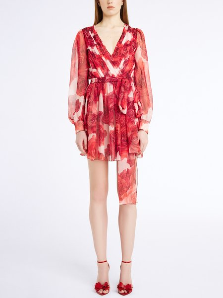 Short dress in rose-print silk chiffon