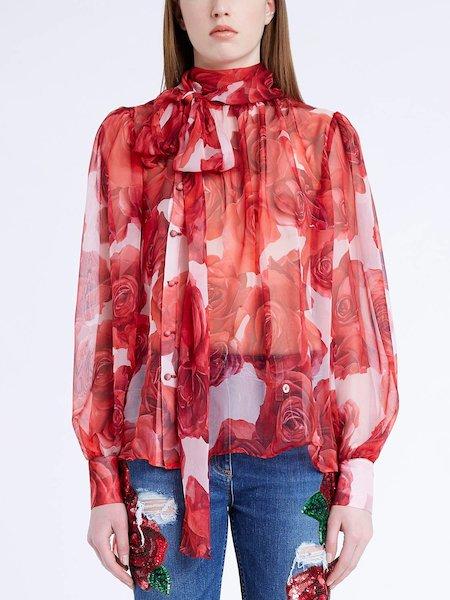 Блуза из шелкового шифона с принтом роз