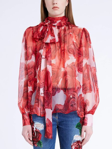 Blouse in rose-print silk chiffon