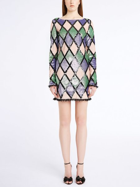Argyle pattern dress with sequins - Multicolored