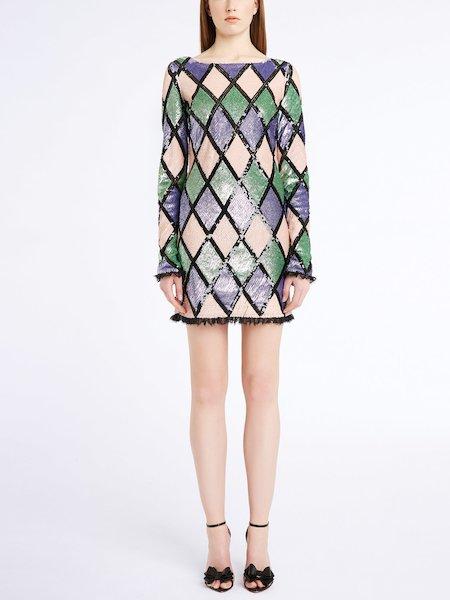 Kleid im Rhombenmuster mit Pailletten